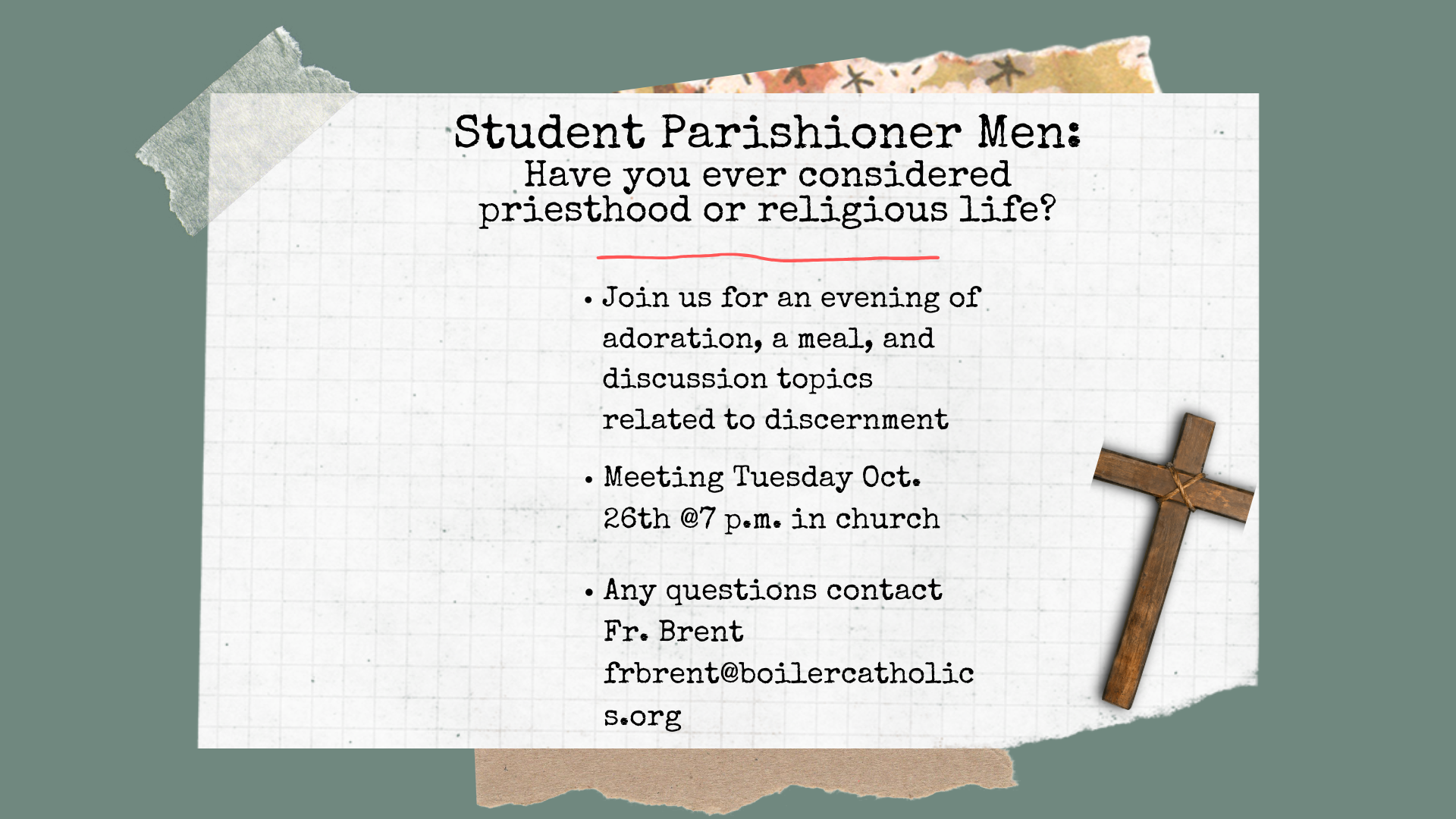 Student Parishioner Men Have you ever considered preisthood or religious life (1920 x 1080 px)